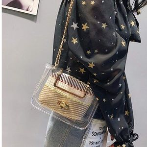2 in 1 Transparent Jelly Crossbody Chain Purse